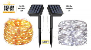 Forever Photons 200 LEDs Solar Fairy Lights Pack of 2 Warm White, Cool White, 72ft, 8 Modes, Outdoors use, Gardening use, Solar String Lights, Upgraded Solar Panel, Free Shipping