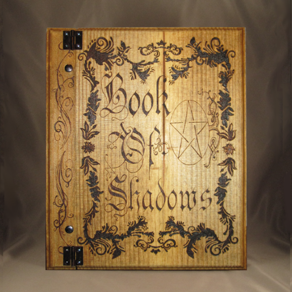 Blank book of shadows with pentacle and floral filigree make with solid wood by Project Fey at www.ProjectFey.com