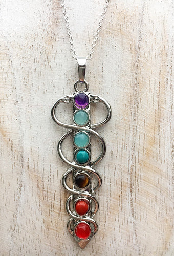 Chakra Bead Sword Pendant on 925 Sterling Silver Chain