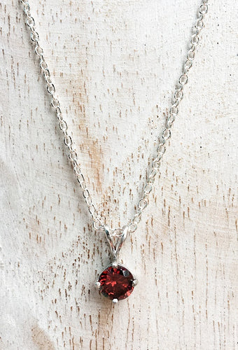 925 Sterling Silver Garnet Birthstone Necklace - January