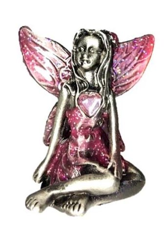Pink Winged Pink Tourmaline Birthstone Fairy Ornament - October