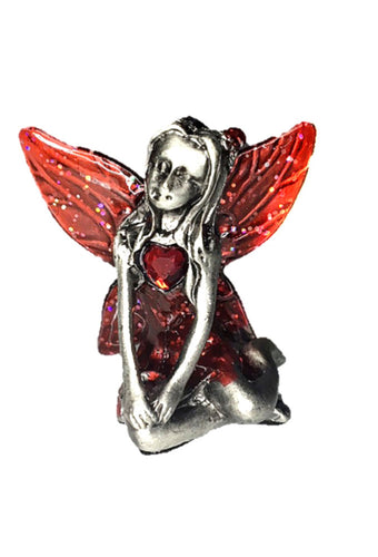 Red Winged Garnet Birthstone Fairy Ornament - January