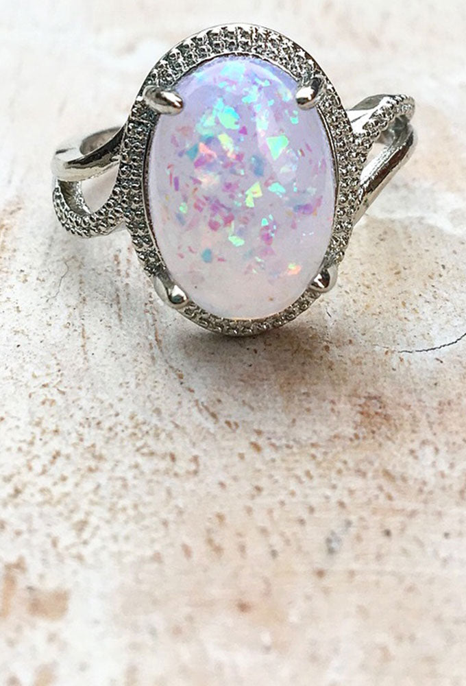 Opal 925 Sterling Silver Ring Size P-Q