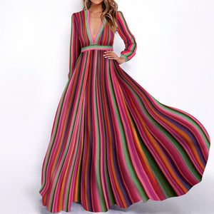 Sexy Deep V Collar Retro Striped Expansion Vacation Dress