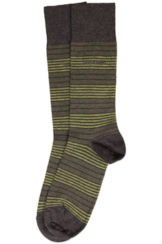 Hugo Boss Green & Charcoal Stripe Combed Cotton Sock