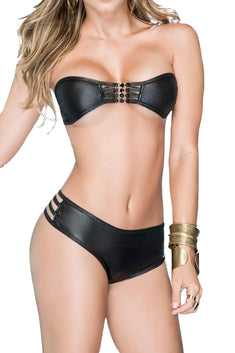 Mapale 2pc Black Metallic Bandeau & Thong Set