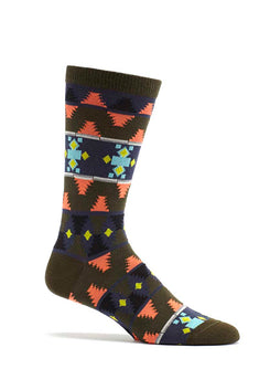Ozone Green Mens Moroccan Waves Crew Sock