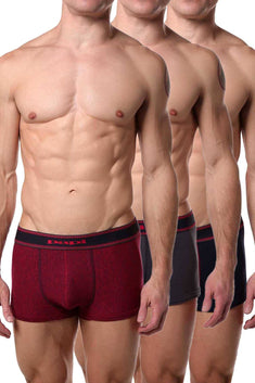 Papi Red/Charcoal/Navy Film-Strip Brazilian Trunk 3-Pack