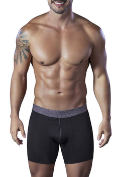 XTREMEN Black Microfiber Jacquard Athletic Boxer Brief