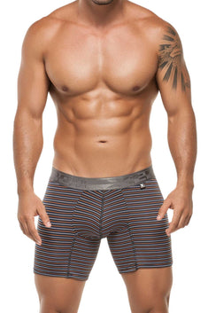 XTREMEN Orange/Navy/White Stripe Microfiber Boxer Brief