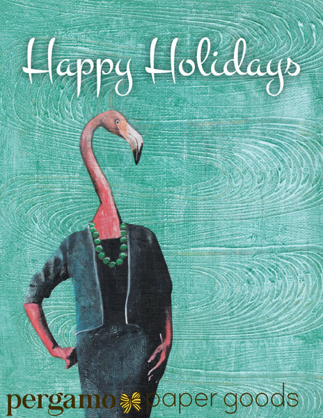 Retro flamingo illustration, flamingo holiday card, reads happy holidays