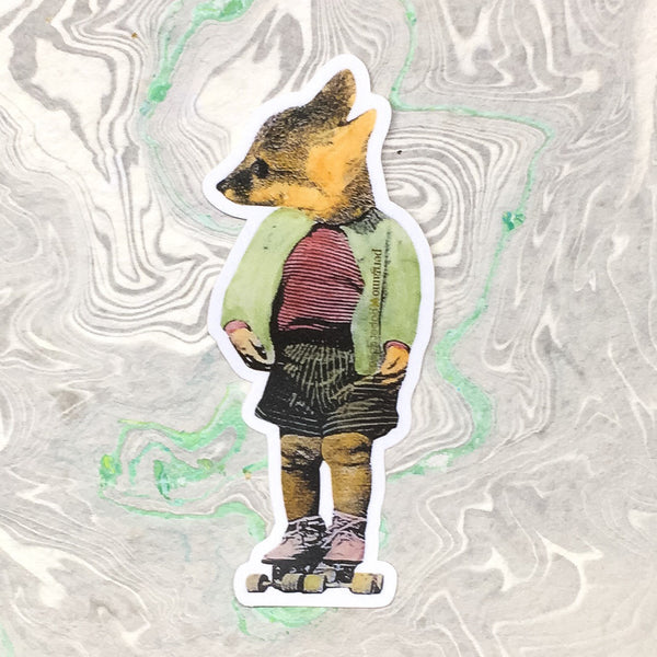 illustrated fox vinyl sticker, roller skate fox, roller skating animal, dressed up fox, baby fox sticker www.pergamopapergoods.com