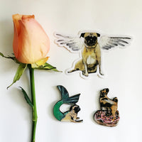 Cupid Pug Vinyl Sticker