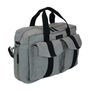 All Aboard Unisex Diaper Bag in Gray and Black