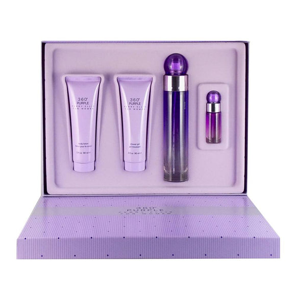 perry ellis 360 purple set 3pc body lotion+shower gel+ eau de parfum