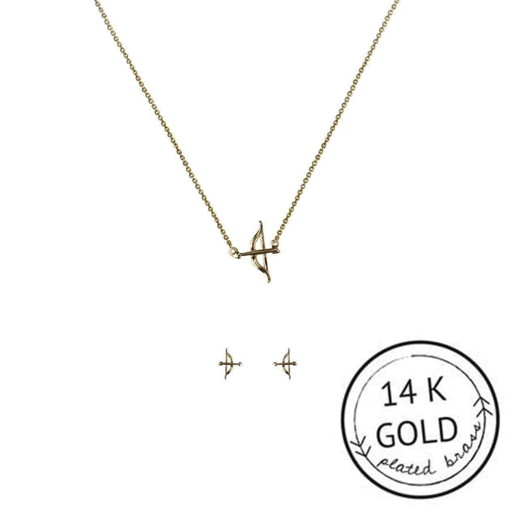 KITSCH Jewelry Gold Bow and Arrow Necklace & Earring Set