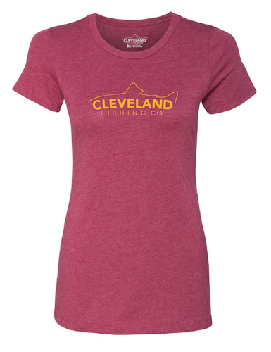 Red women's short sleeve fishing t-shirt with yellow Cleveland Fishing Co. logo across the chest.