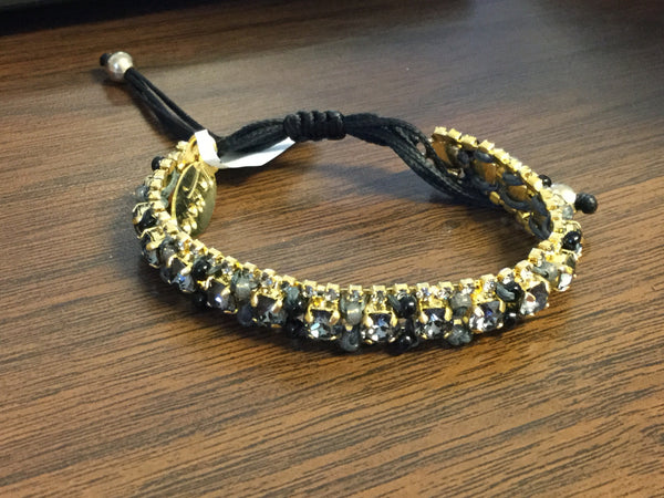 Mariana Black And Gold Small Crystal Bracelet