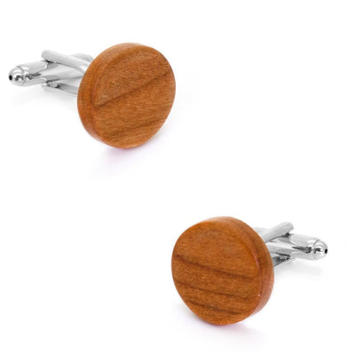 Round Light Brown Wood Cufflinks