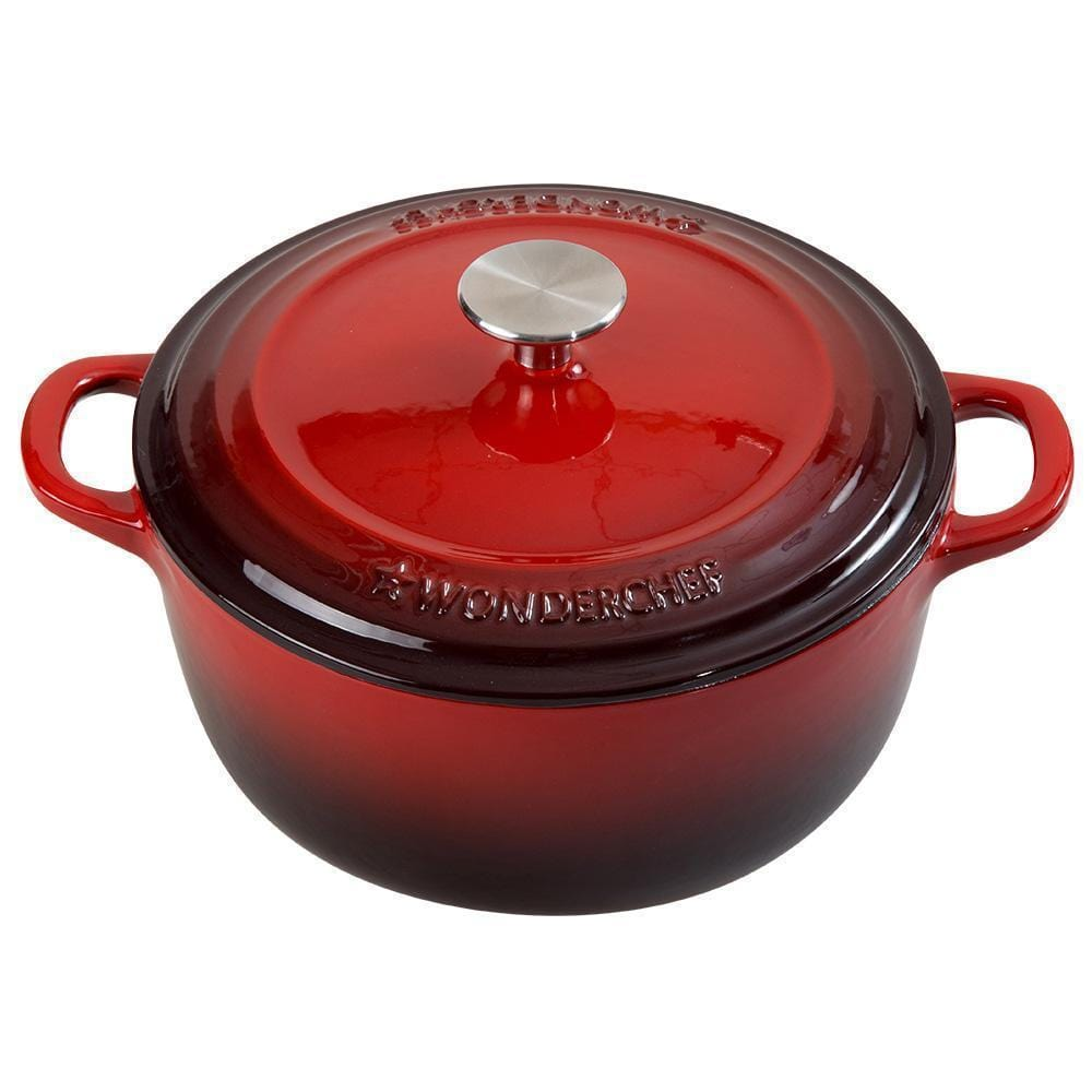 Wonderchef Ferro Cast-Iron 14Cm Casserole With Lid-0.8L- Red-Cookware