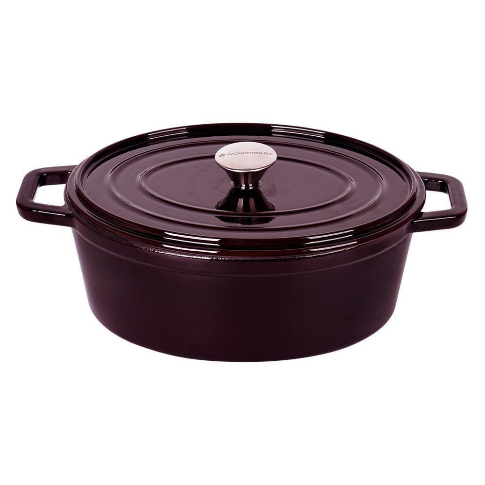 Wonderchef Ferro Cast-iron Oval Casserole with lid 29cm