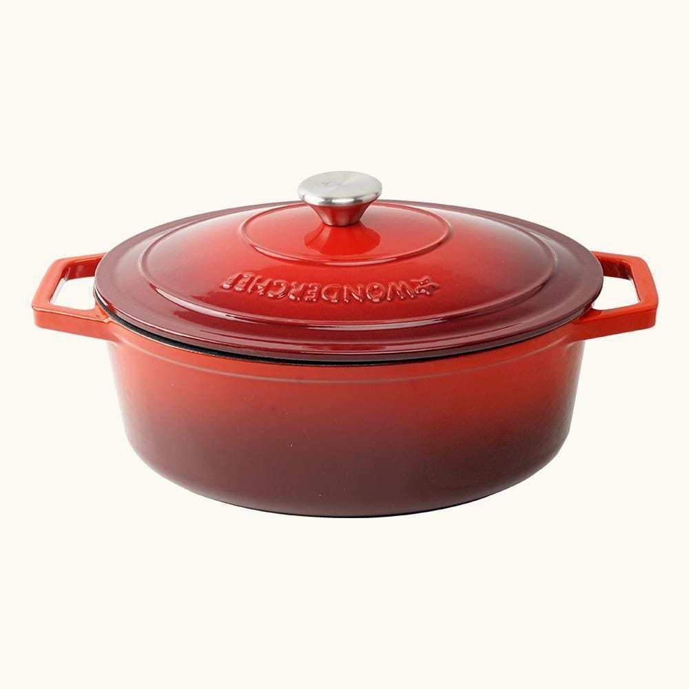 Wonderchef Ferro Cast-Iron - Oval Casserole with Lid 29cm (Red)