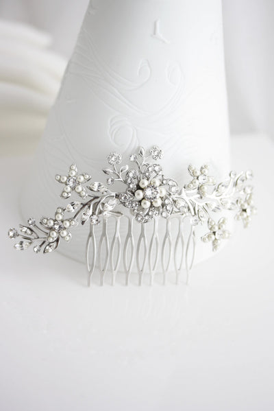Sabine 2 Silver Wedding Comb - Lulu Splendor