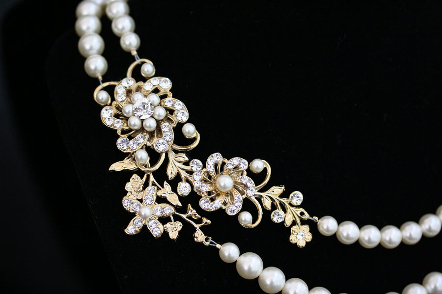 Sabine Grand Pearl Gold Wedding Necklet