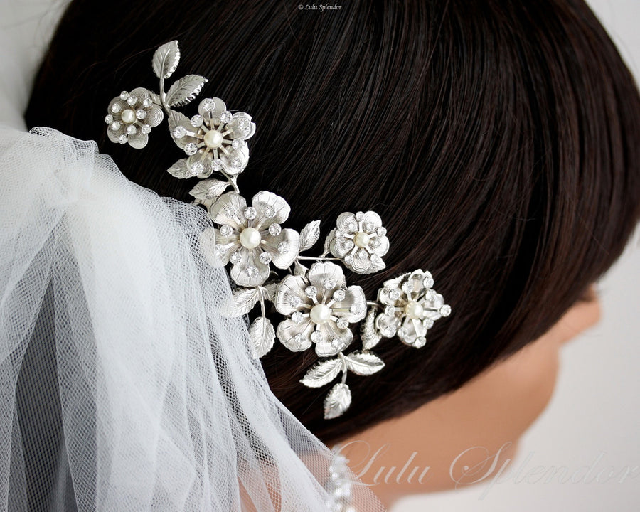 Lisse Grand Silver Wedding Comb - Lulu Splendor