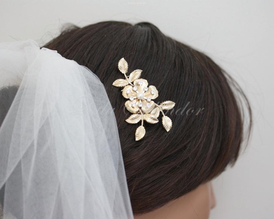 Lisse Gold Bridal Hair Comb - Lulu Splendor