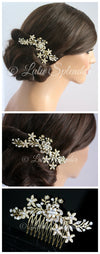 Sabine 2 Crystal Flower Wedding Comb - Lulu Splendor