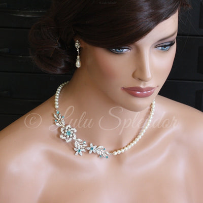 Sabine 2 Crystal Pearl Wedding Necklace - Lulu Splendor
