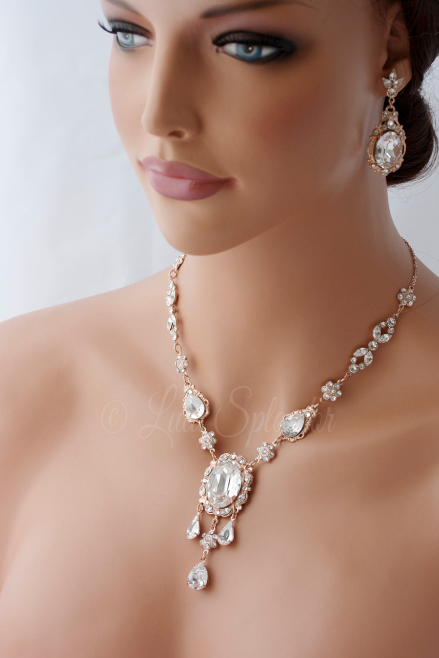 Ryan Deluxe Rose Gold Wedding Necklace - Lulu Splendor