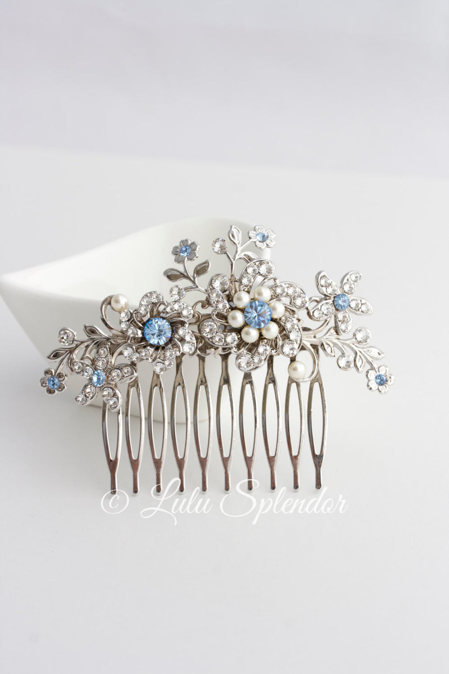 Sabine Light Sapphire Blue Wedding Comb
