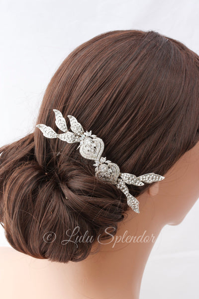 Evie Silver Wedding Hair Comb - Lulu Splendor