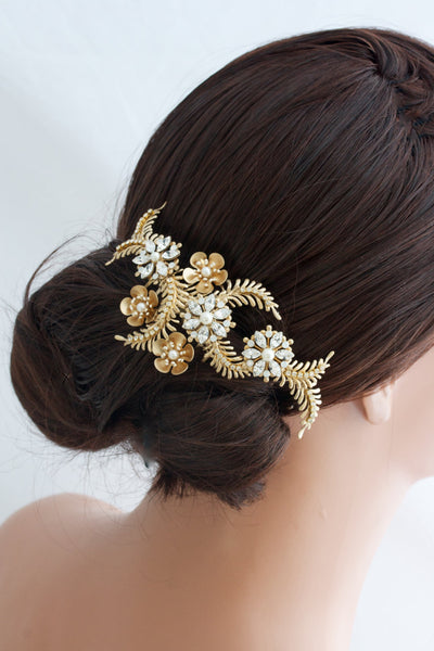Petal Gold Crystal Wedding Comb - Lulu Splendor