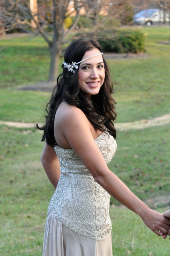 Ivy Art Deco Bridal Halo Headpiece - Lulu Splendor