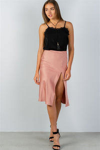 Ladies fashion side slit midi skirt