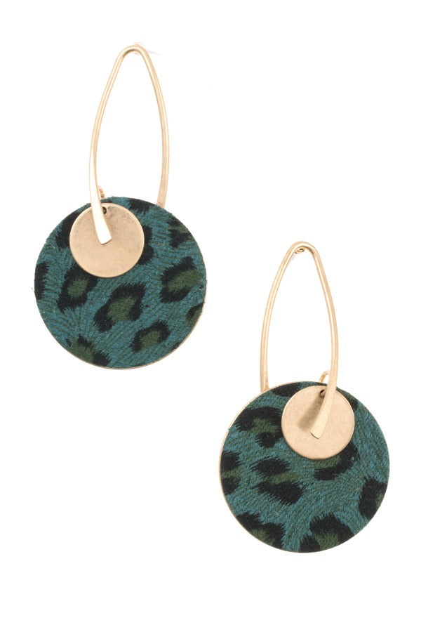 Animal print double disk hook earring