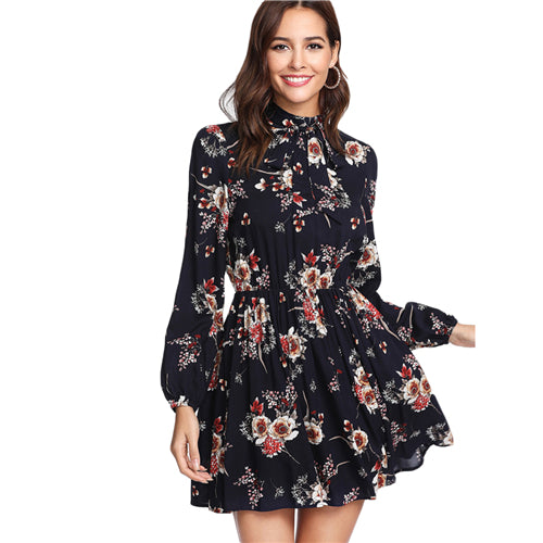 Exciting Apparel Autumn Floral Women Dresses Multicolor Elegant Long Sleeve High Waist A Line Chic Dress Ladies Tie Neck Dress