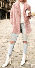Load image into Gallery viewer, Pink vegan faux fur plush teddy coat
