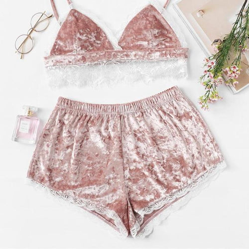 Pink Lace Trim Velvet Cami Top and Shorts