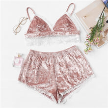 Load image into Gallery viewer, Pink Lace Trim Velvet Cami Top and Shorts