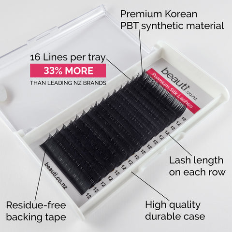 Individual Silk Eyelash Extension Trays NZ - D Curl