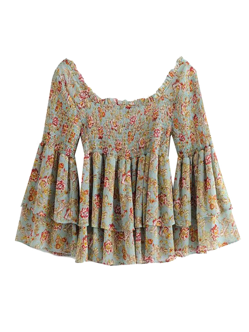 'Alexandra' Floral Print Ruched Blouse