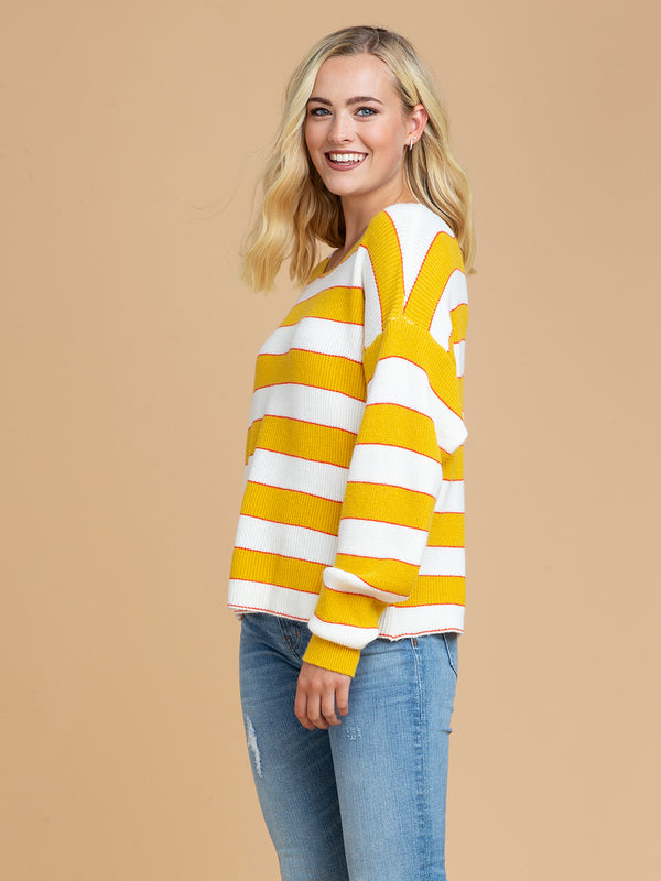 Goodnight Macaroon 'Scarlett' Striped Knitted Crew Neck Sweater Side
