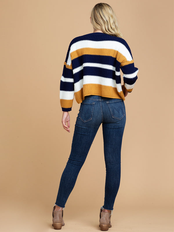 Goodnight Macaroon 'Maggie' Striped Cropped Crew Neck Sweater Full Body Back