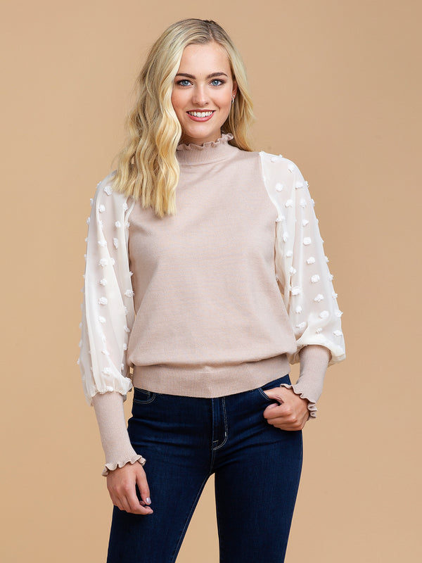 'Huni' Dotted Chiffon Sleeve Frilled Sweater