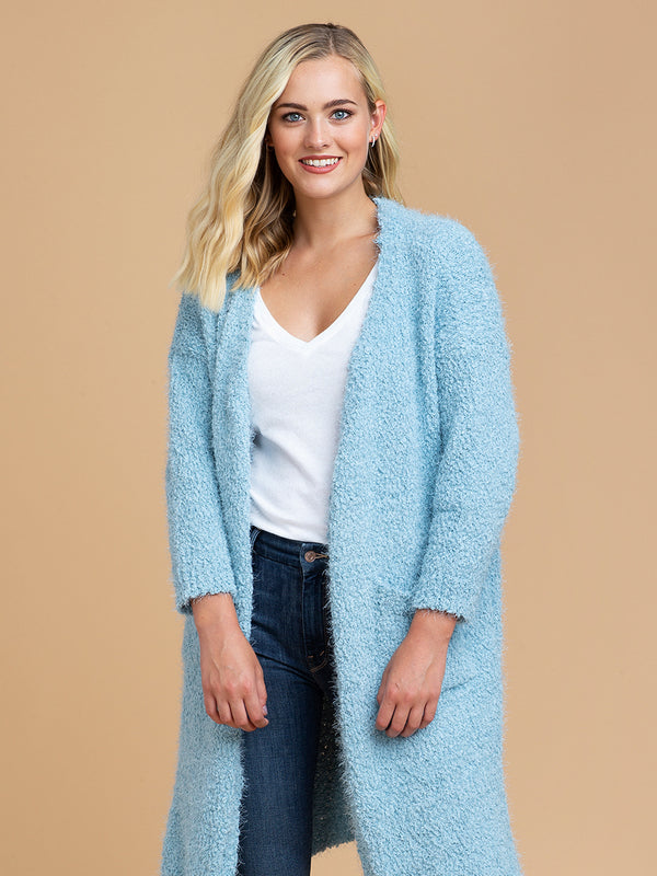 Goodnight Macaroon 'Mariah' Sky Blue Fuzzy Knit Long Open Cardigan Model Half Body Front