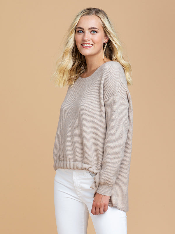 Goodnight Macaroon 'Reese' Drawstring Ribbed Crew Neck Sweater Model Half Body Side